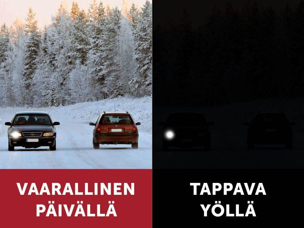 Pimeät autot ovat riski liikenteessä – lähes jokaisessa autossa jokin polttimo pimeänä